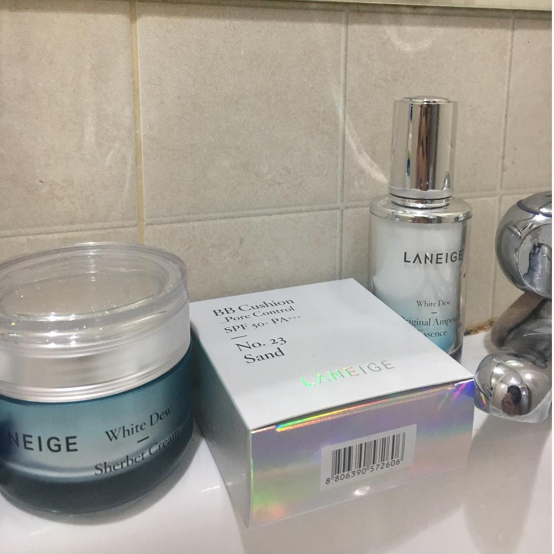 Laneige whitening package (White Dew Sherbet, White Dew Original Ampoule + BB Cushion No 23)