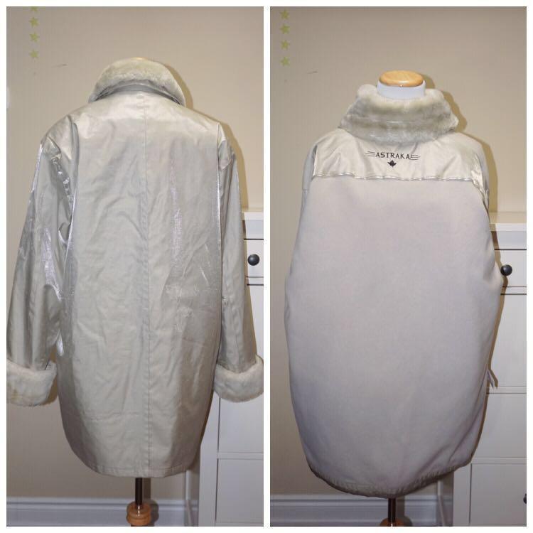 *Like New* ASTRAKA Winter Parka with Detachable Fleece Lining in Metallic Greyish Cream (L-XL)
