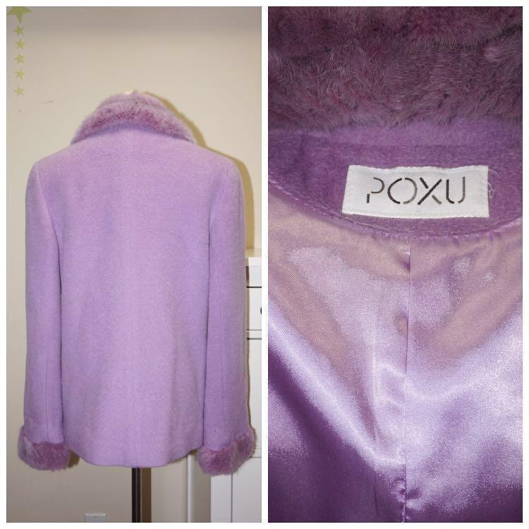 *Like New* POXU 77.5% Wool 22.5% Alpaca Retro Style Coat with Faux Fur Collar Women Size M