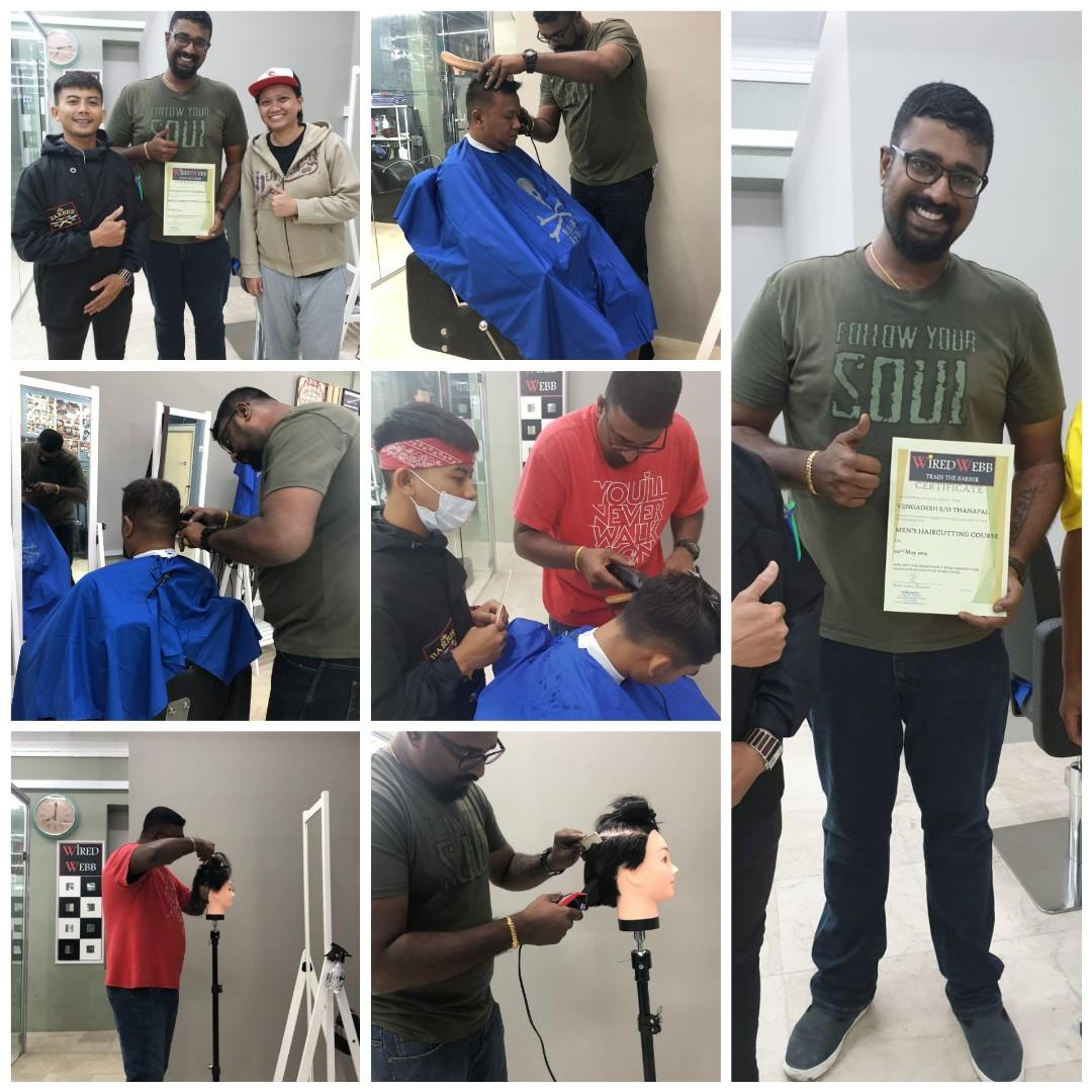 """Men's Barber Course, learn using Scissor, Clipper, Razorblade on Live Model, Basic L1 - 3 Hours 5 Session-$450. Advanced L2 - 3 hours 5 Session-$550. Full Course Level 1&2 on Promotion-$950 for 9 Session. Master the """"FADE"""" Haircut for 4 Live Session $600."""