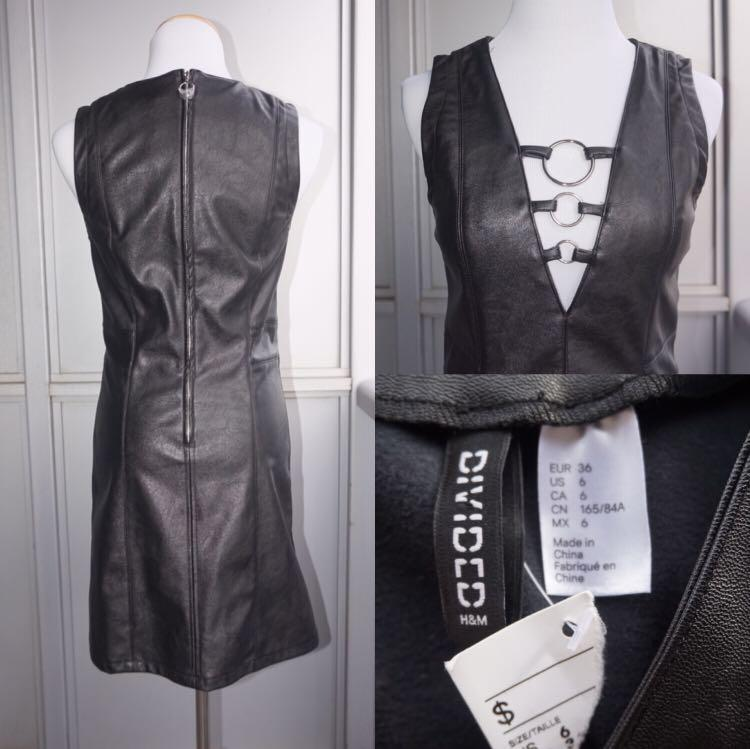*NWT* H&M faux leather dress with hoop Details Women Size 6