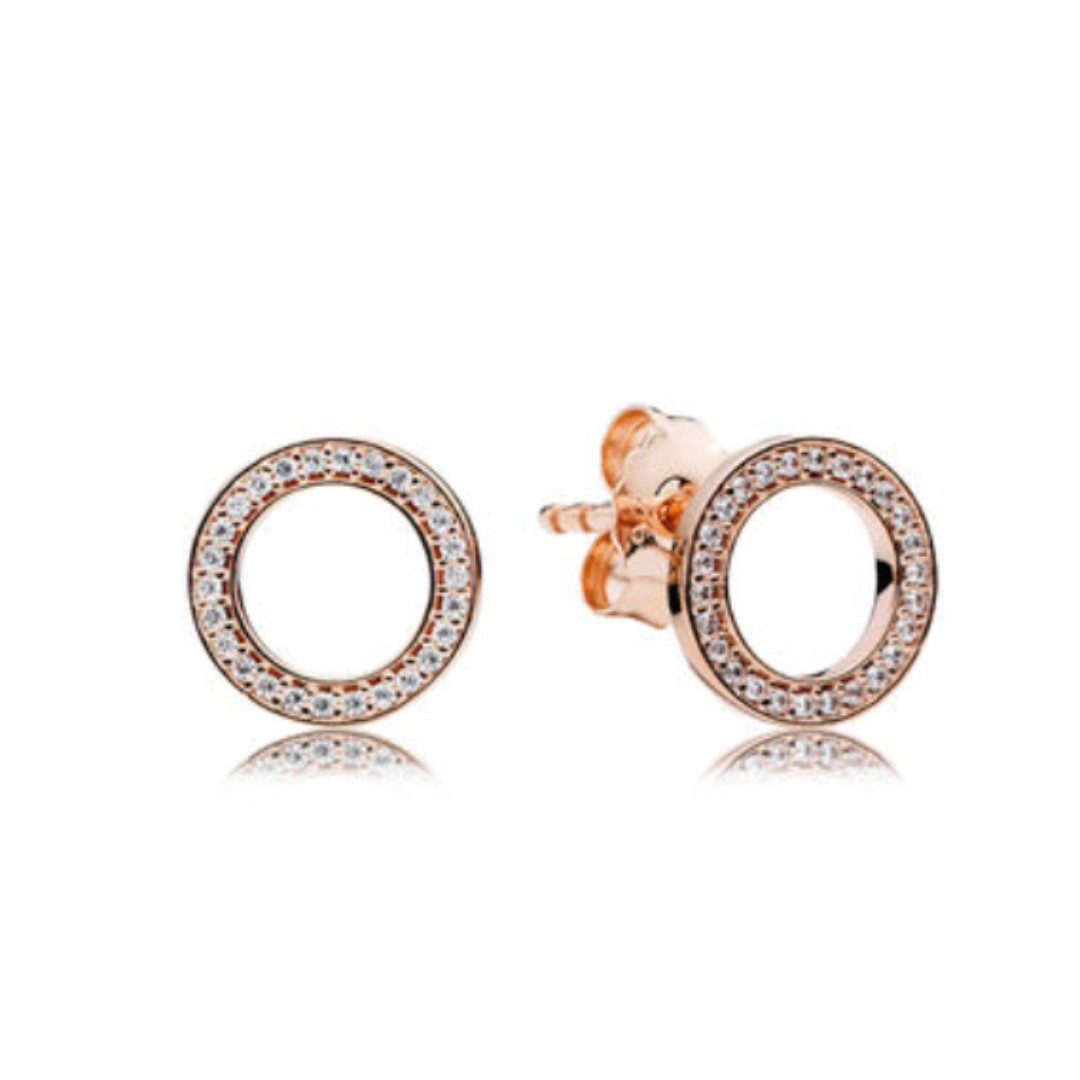 b3843e009 Pandora Rose Gold Stud Earrings with clear cubic zirconia, Luxury,  Accessories, Others on Carousell