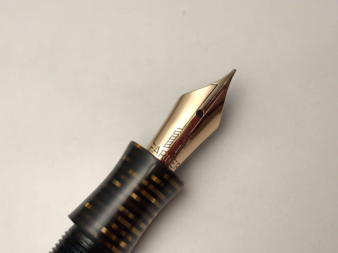 派克 第一代 真空 美國 Parker Vacumatic Golden Pearl 裝飾藝術 年代 14K 鋼筆