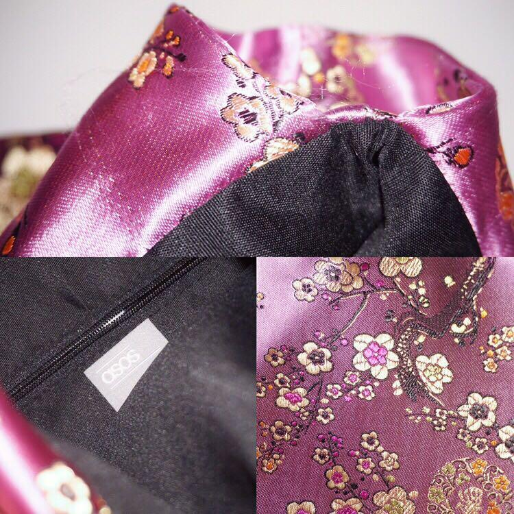 *Perfect Condition* ASOS pink embroidered pouch bag