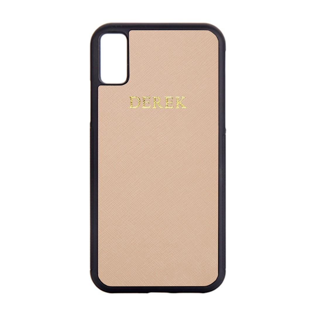 Saffiano Leather Personalised Phone Cover