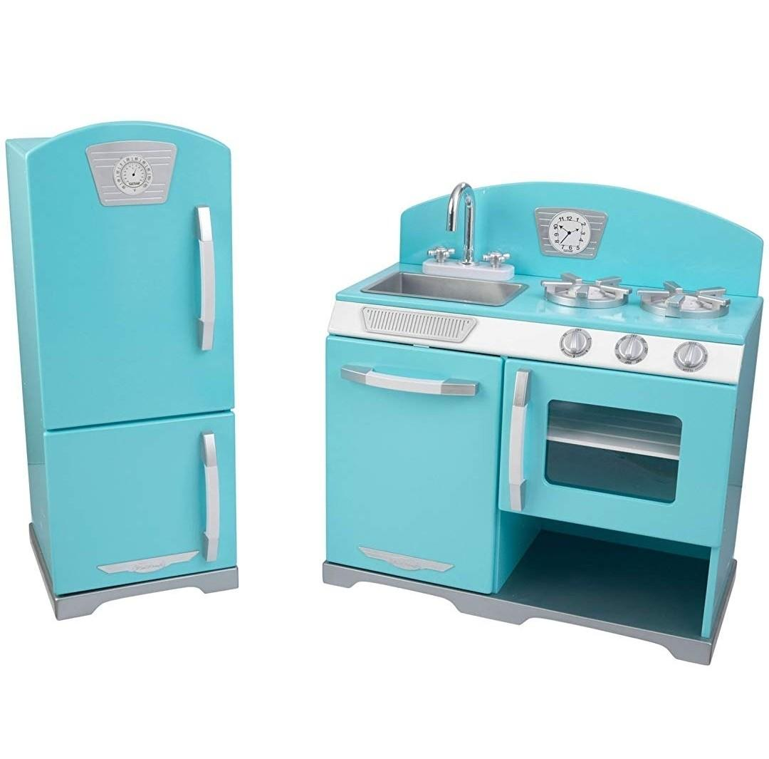 (PO) BN KidKraft 2-Piece Retro Kitchen with Refrigerator Fridge Play Set , Aqua Tiffany Blue