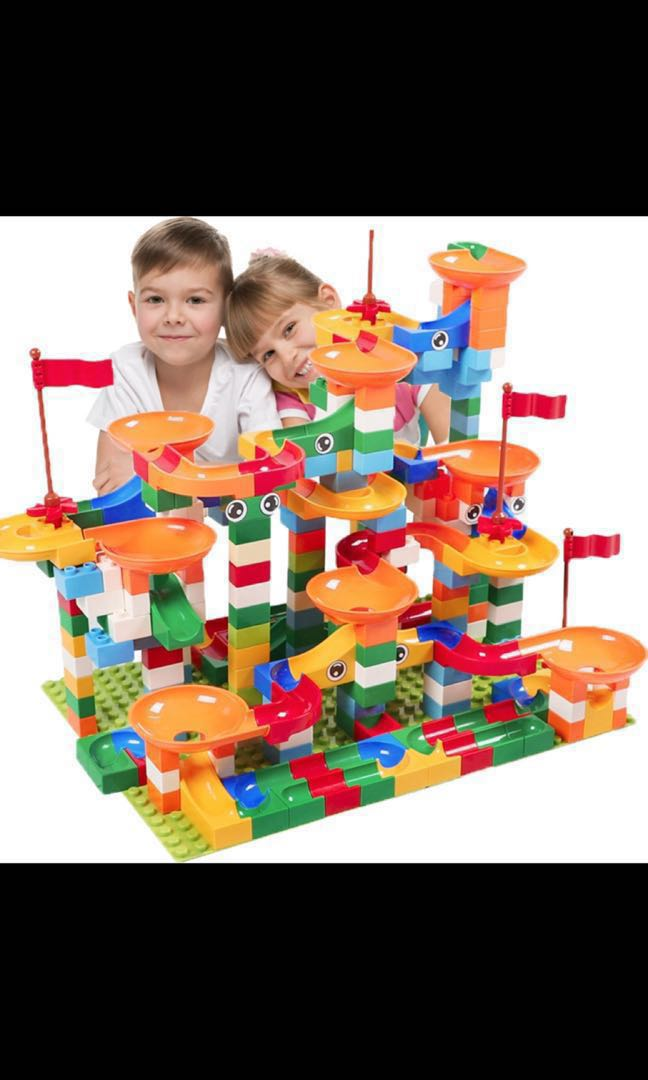 222 PCS Marble Race Run Maze Ball Track Building Blocks Plastic Funnel Slide BIG