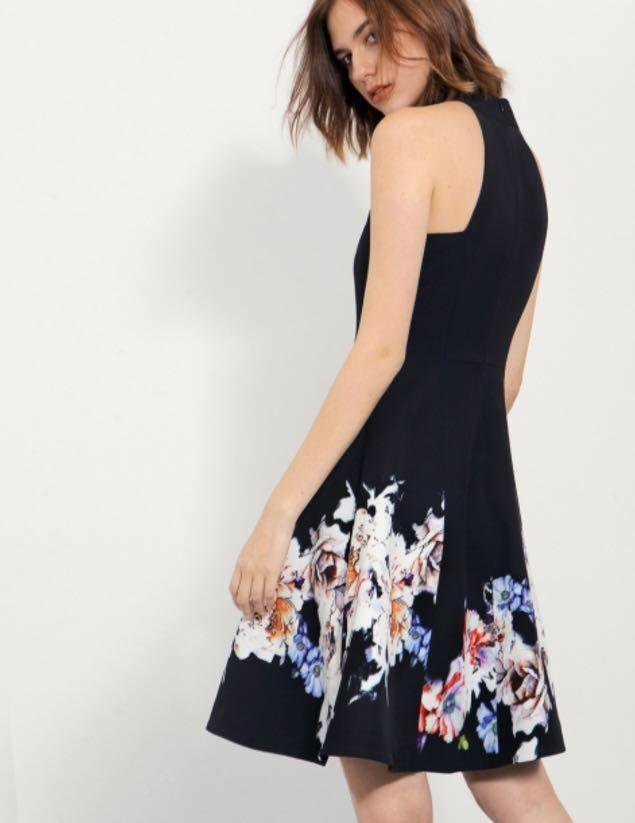Saturday Club Halter Neck Dress with Layered Placement Floral Skirt