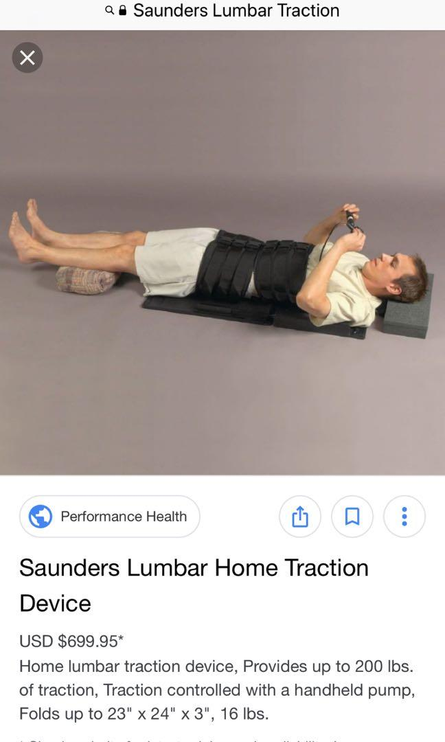 Saunders Lumbar Traction Device With Pump Control Assistive