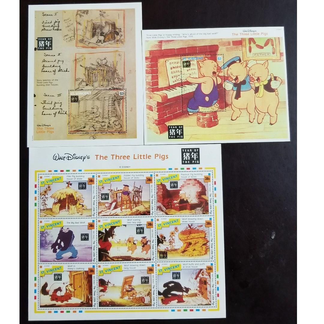 St. Vincent – Disney The Three Little Pigs 小型張 3張
