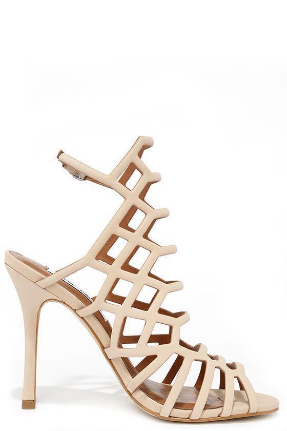 Steve Madden Slithur Dress Sandal, Nude Stiletto Size 9