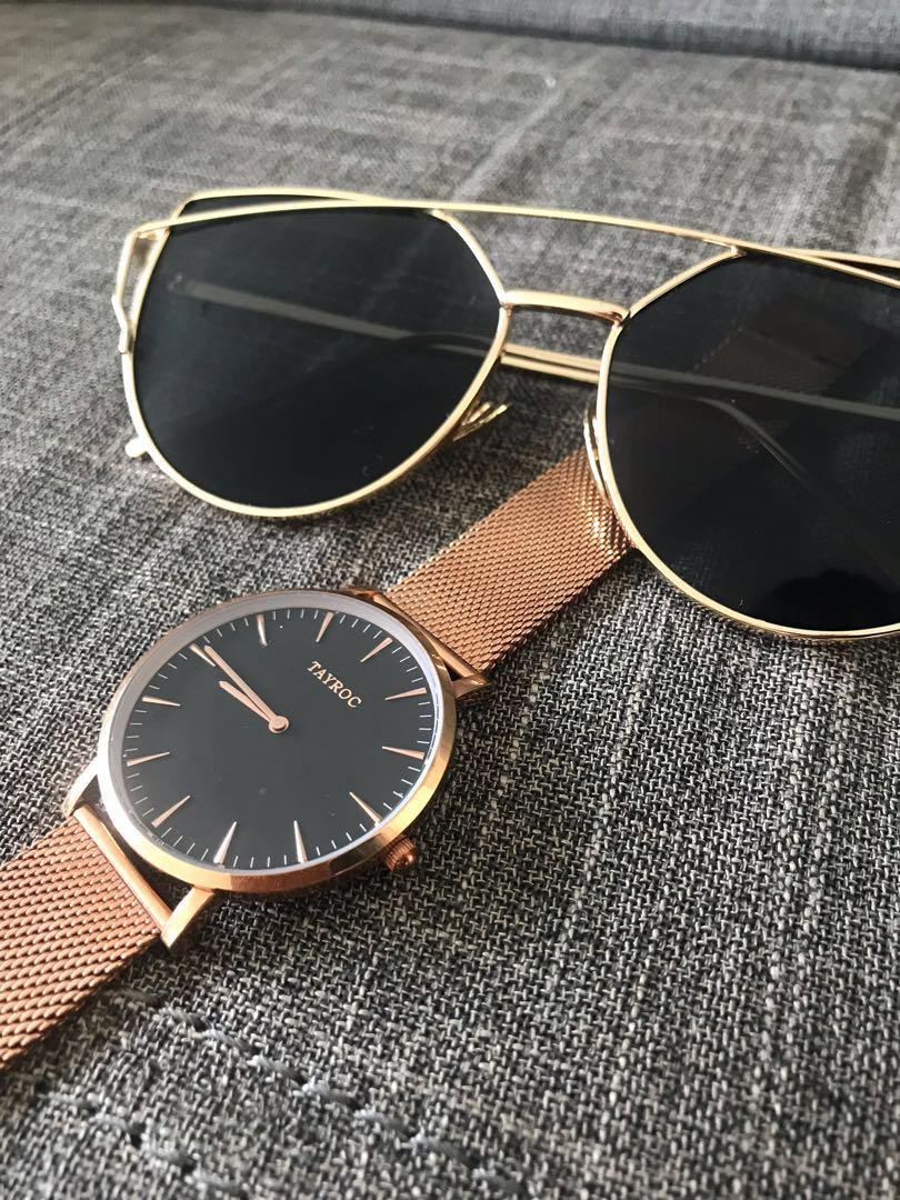 Tayroc Rose Gold Watch with Brand New Sunglasses (Free)