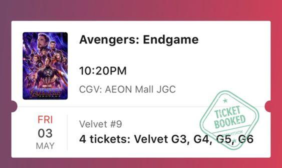 Tiket end game vekvet studio