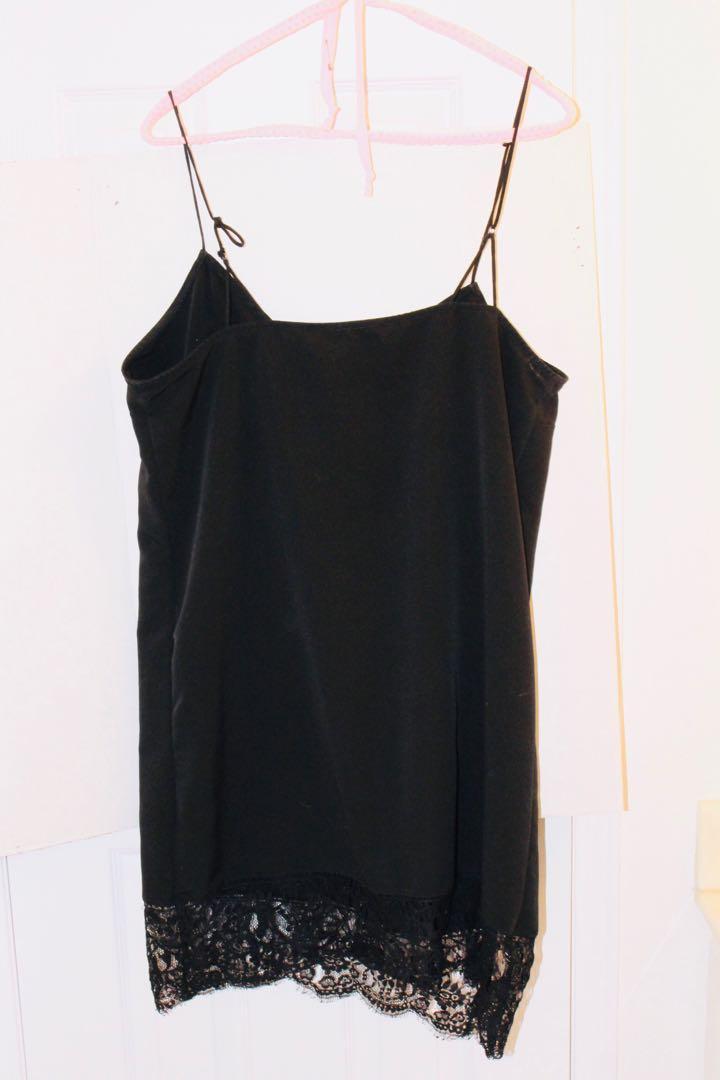 Urban Outfitters Black Lace-Trim Slip Dress (size M/L)