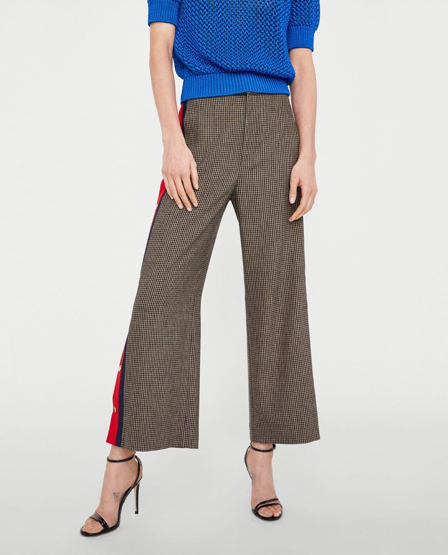 Zara - Houndstooth High Waisted Pants with Red Stripe & Side Poppers