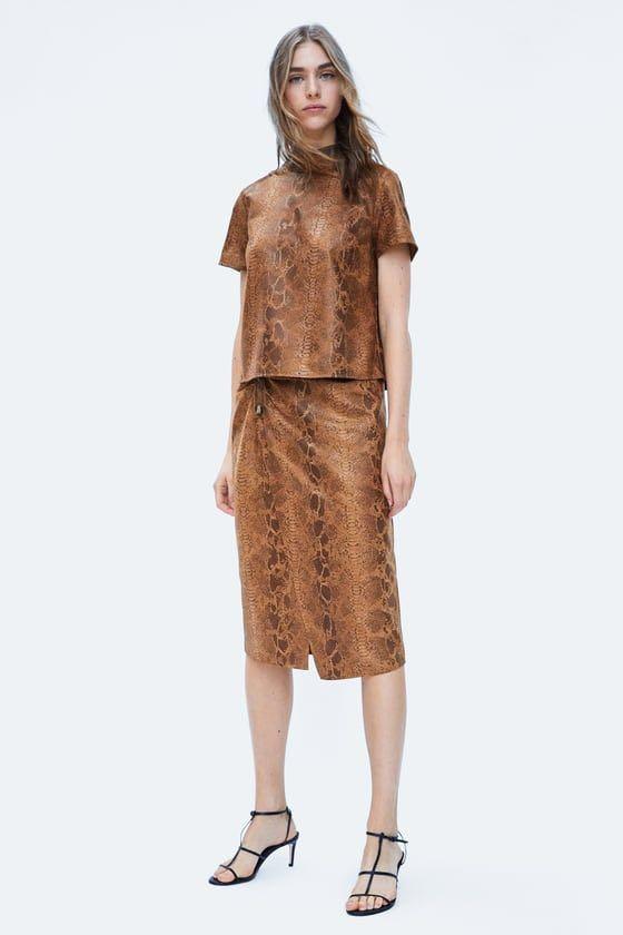 0f52a76713da21 Zara Faux Suede Snake Skin print top, Women's Fashion, Clothes, Tops ...