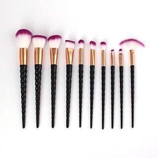 🚚 10pcs Black Unicorn makeup brush set