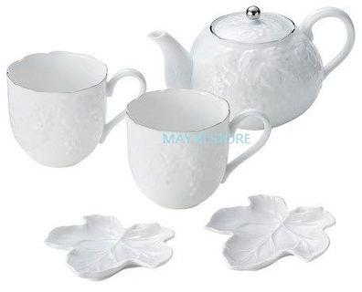 日本製 YUMI KATSURA White Porcelain Grape Tea Set Teapot Mug Dish Gift 白 瓷 美濃燒 葡萄 茶具 茶壺 茶杯 碟 禮物