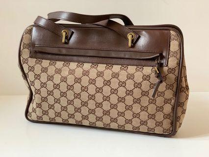 Authentic Gucci Monogram Canvas Classic Shoulder Tote Bag