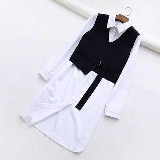 全新❤️S號法式兩件式長版襯衫加針織背心