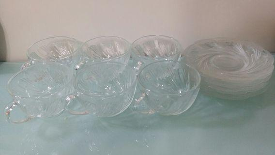 玻璃茶杯連碟~6只杯6只碟
