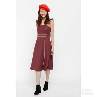 🚚 BNWT LB Nifayla Contrast Piping Midi Dress  (Love Bonito)
