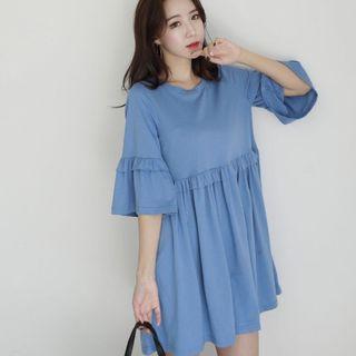 🚚 💎全新現貨💎韓版荷葉邊短版寬鬆洋裝