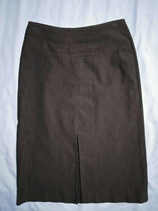 Dark Brown Pencil Office Skirt
