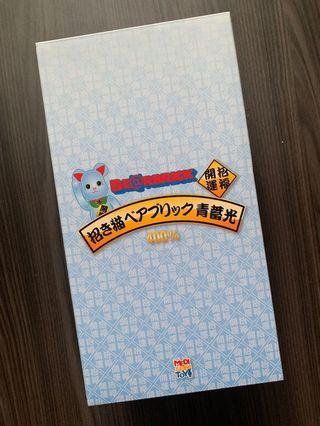 Blue GID Fortune Cat Bearbrick 400% + 100%