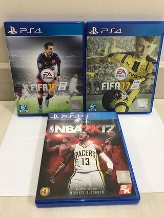 PS4 FIFA 16 / FIFA 17 / NBA 2K17 (1套3隻)