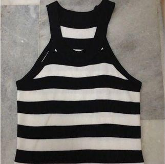 Black Stripes Cut In Top
