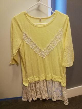 Yellow lace Long shirt