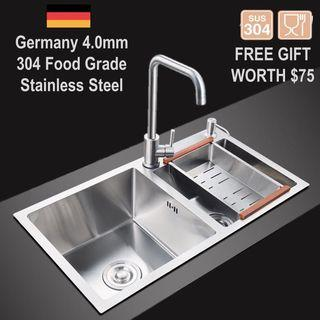 🇩🇪 4mm Stainless Steel Kitchen Sink / Double Bowl Sink 3 Size !