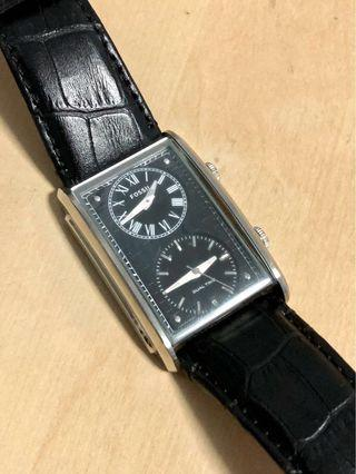 FOSSIL Dual Time Leather Black FS4782
