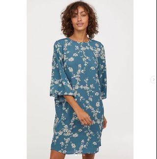 H&M PATTERNED DRESS - Dusky Blue/Floral