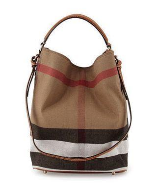 Burberry Ashby Canvas Check Shoulder Bag