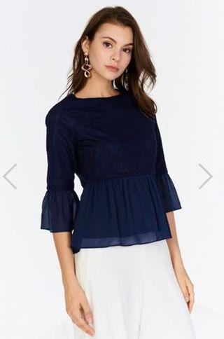TCL Adanna Peplum Top in Navy
