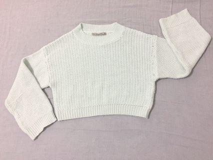 Zara 湖水藍短版毛衣
