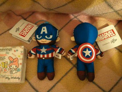(割💲45/件)Disney Marvel Captain America 迪士尼漫威美國隊長細毛公仔吊掛飾
