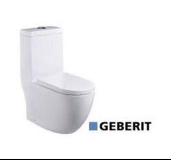 WC toilet bowl with Geberit flushing system