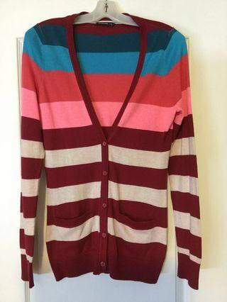 Bluenotes burgandy teal, red, pink, beige button up cardigan. Size L, Large. Ladies/ Girls/ Teen. Euc only worn once.