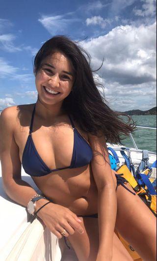 Sheridyn Swim Navy Tie Up Bikini // 8-10 Small