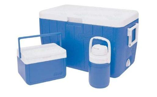 3-piece Coleman cooler combo, includes one 48 Qt. Cooler, one FlipLidTM 6 Personal Cooler and one ⅓ Gallon Jug