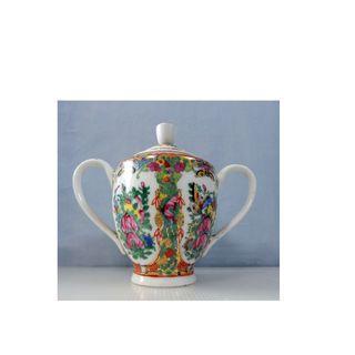 Antique Canton Famille Rose Porcelain Sugar Bowl circa 1950s retired unused