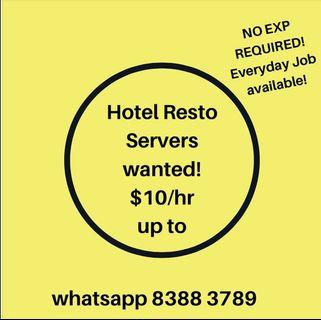 PART TIME HOTEL RESTO SERVER!  NO EXP REQUIRED