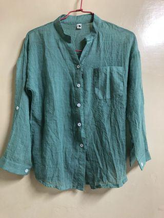 🚚 綠色棉麻襯衫