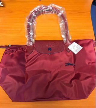 Longchamp Le Pliage Garnet Red Club tote bag size S