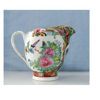 Antique Canton Famille Rose Porcelain Milk Jar circa 1950s retired unused