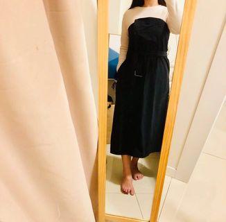 假兩件長袖拼接黑色洋裝 附腰帶 九成新 Free Size