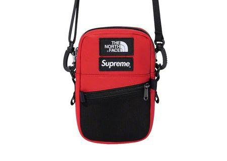 Fw18 Supreme x the North face leather Shoulder Bag red